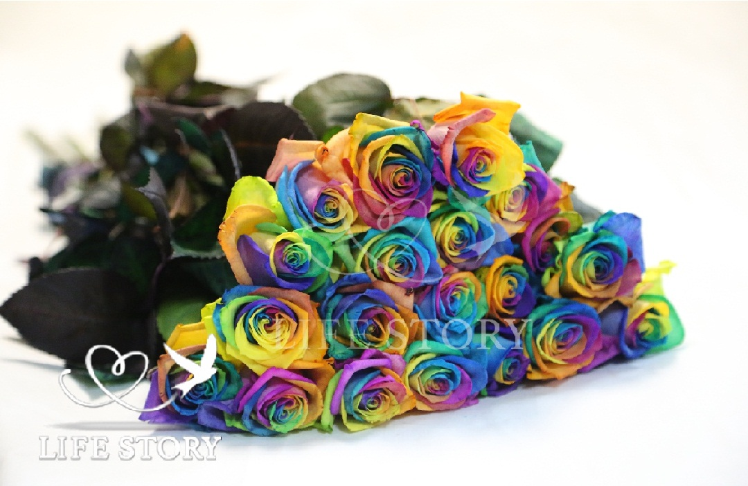 купить радужные розы